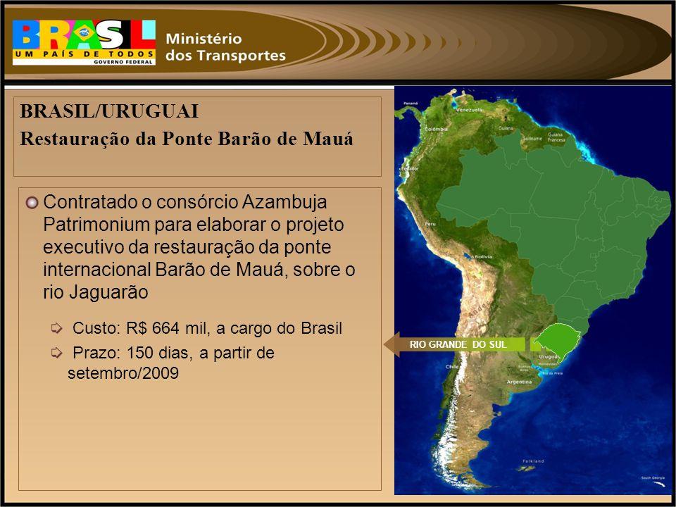 Contratado o consórcio Azambuja Patrimonium para elaborar o projeto executivo da restauração da ponte internacional Barão de Mauá, sobre o rio Jaguarã