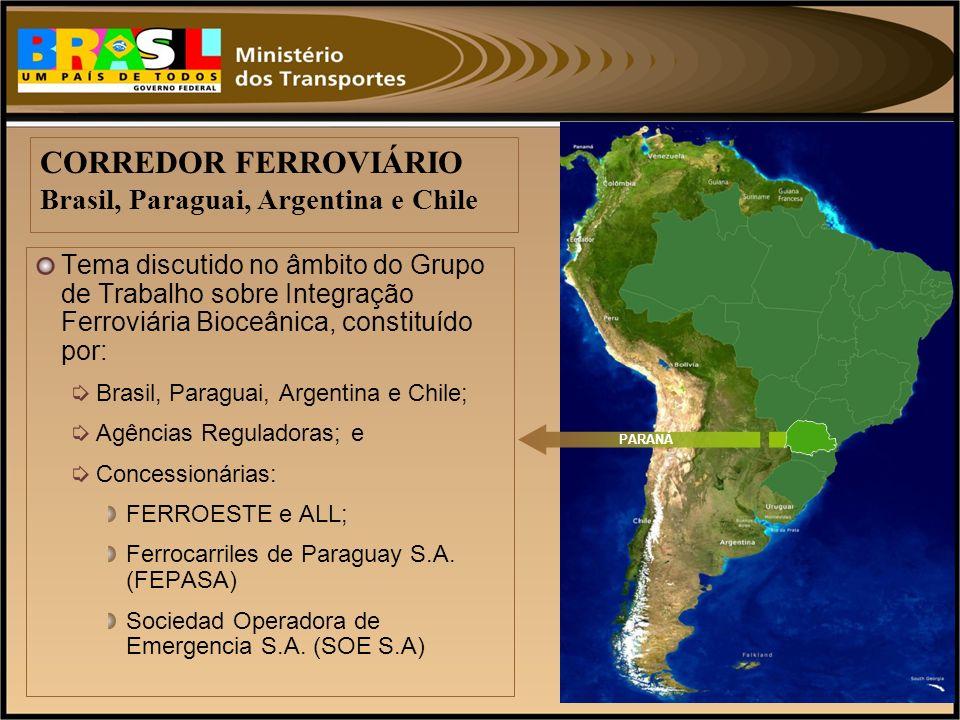 Tema discutido no âmbito do Grupo de Trabalho sobre Integração Ferroviária Bioceânica, constituído por: Brasil, Paraguai, Argentina e Chile; Agências