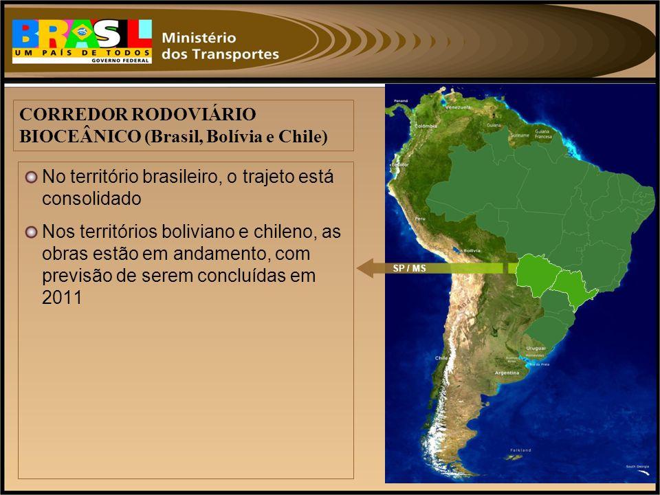 No território brasileiro, o trajeto está consolidado Nos territórios boliviano e chileno, as obras estão em andamento, com previsão de serem concluída
