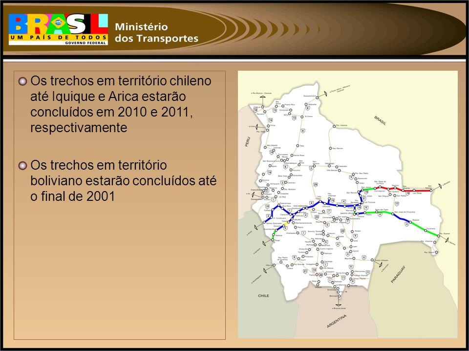 Os trechos em território chileno até Iquique e Arica estarão concluídos em 2010 e 2011, respectivamente Os trechos em território boliviano estarão con