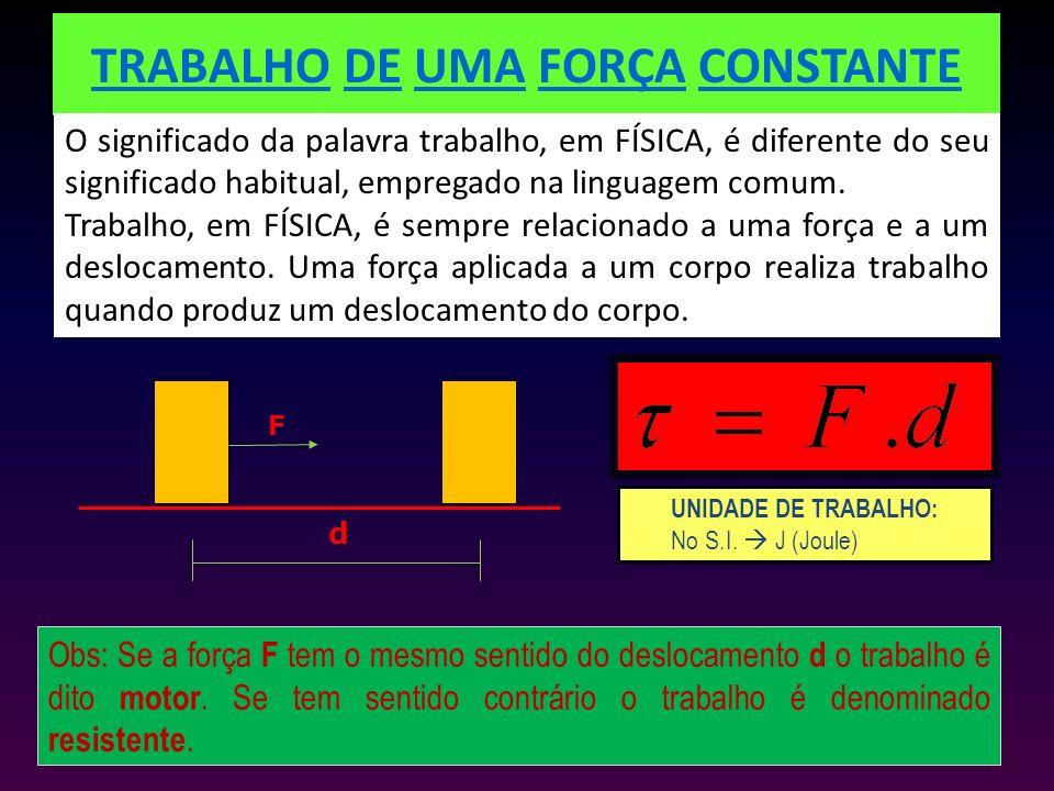 TRABALHO DE UMA FORÇA CONSTANTE O significado da palavra trabalho, em FÍSICA, é diferente do seu significado habitual, empregado na linguagem comum. T