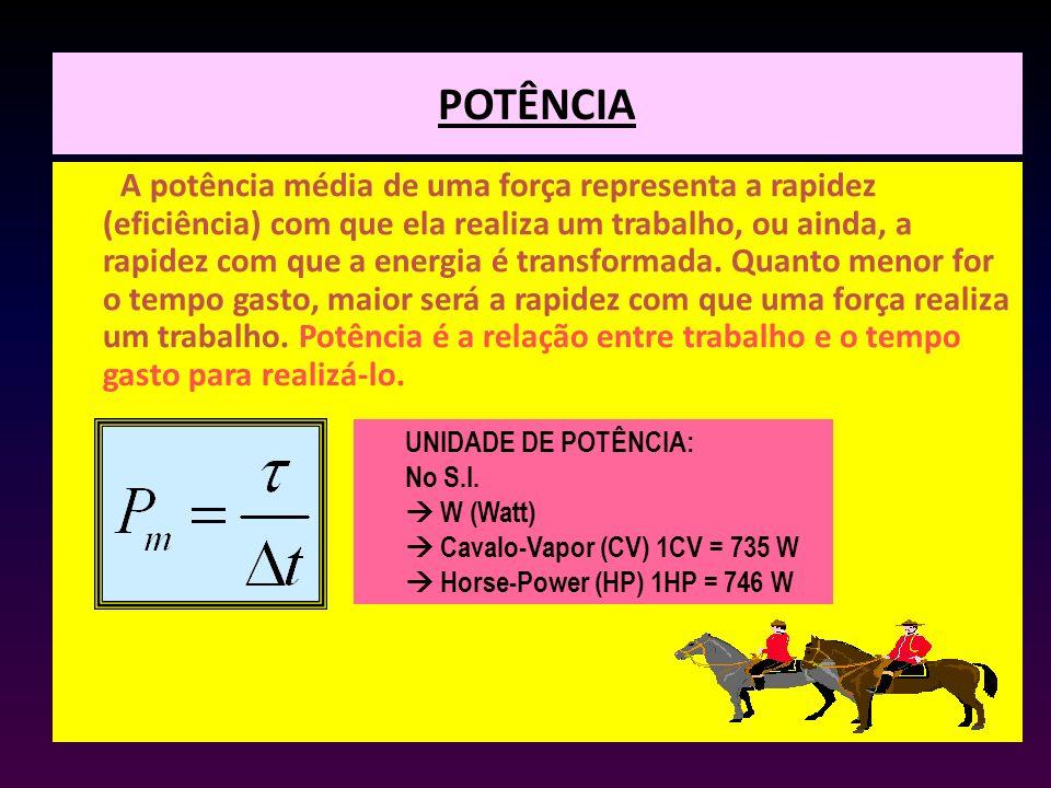 POTÊNCIA A potência média de uma força representa a rapidez (eficiência) com que ela realiza um trabalho, ou ainda, a rapidez com que a energia é tran