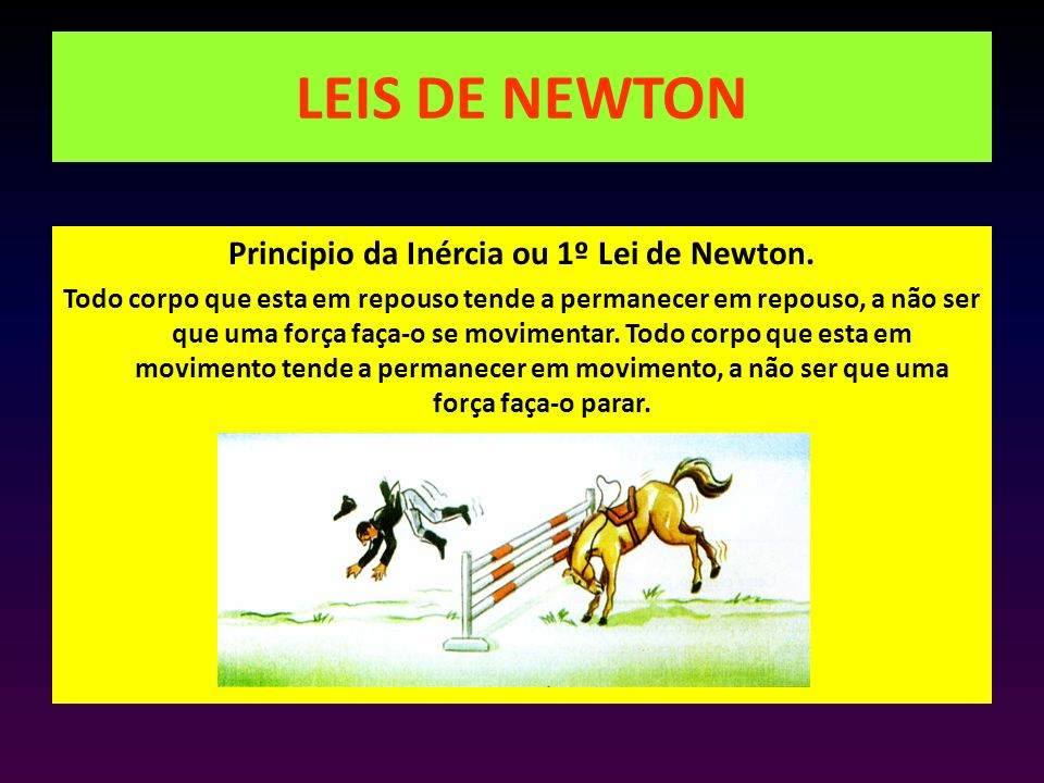 LEIS DE NEWTON Principio da Inércia ou 1º Lei de Newton. Todo corpo que esta em repouso tende a permanecer em repouso, a não ser que uma força faça-o