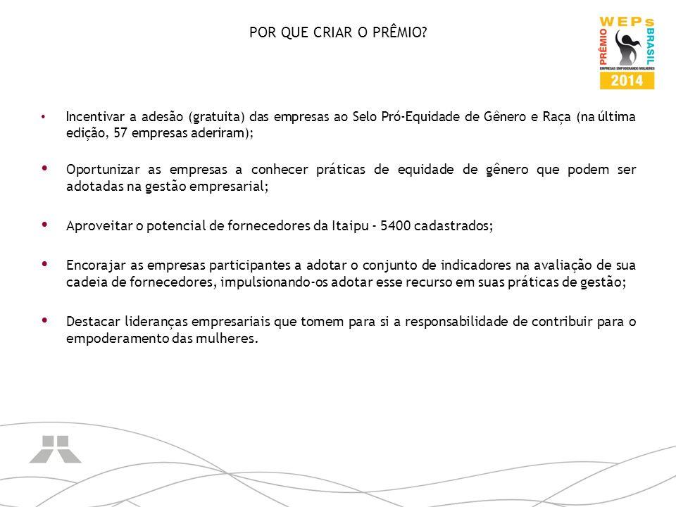 Incentivar a adesão (gratuita) das empresas ao Selo Pró-Equidade de Gênero e Raça (na última edição, 57 empresas aderiram); Oportunizar as empresas a