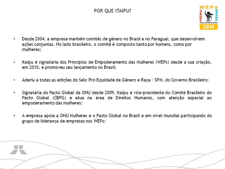 POR QUE ITAIPU? Desde 2004, a empresa mantém comitês de gênero no Brasil e no Paraguai, que desenvolvem ações conjuntas. No lado brasileiro, o comitê
