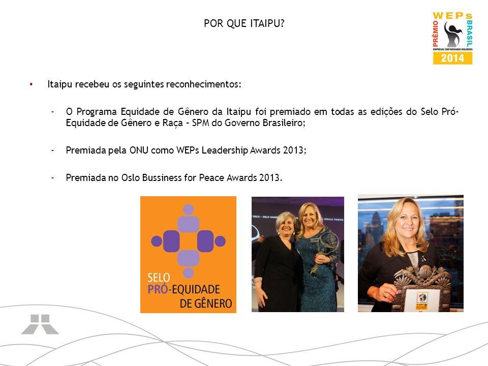POR QUE ITAIPU? Itaipu recebeu os seguintes reconhecimentos: -O Programa Equidade de Gênero da Itaipu foi premiado em todas as edições do Selo Pró- Eq