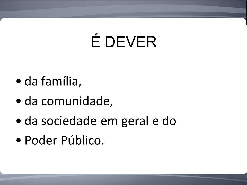 É DEVER da família, da comunidade, da sociedade em geral e do Poder Público.