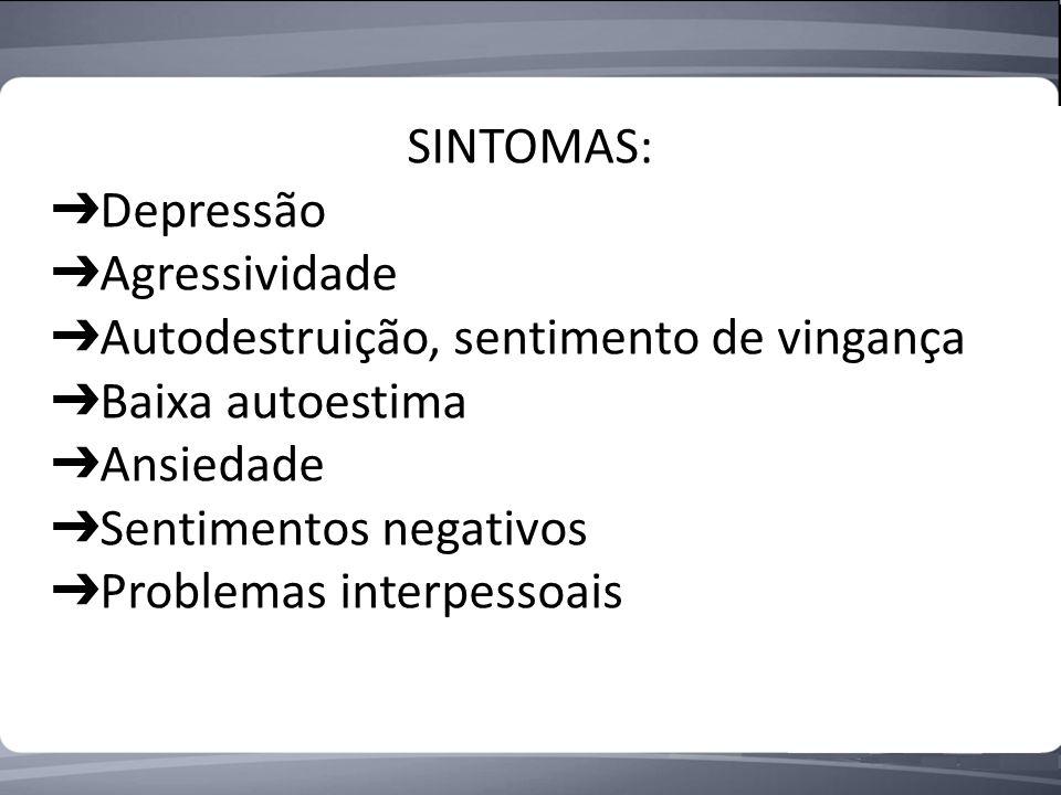 SINTOMAS: Depressão Agressividade Autodestruição, sentimento de vingança Baixa autoestima Ansiedade Sentimentos negativos Problemas interpessoais