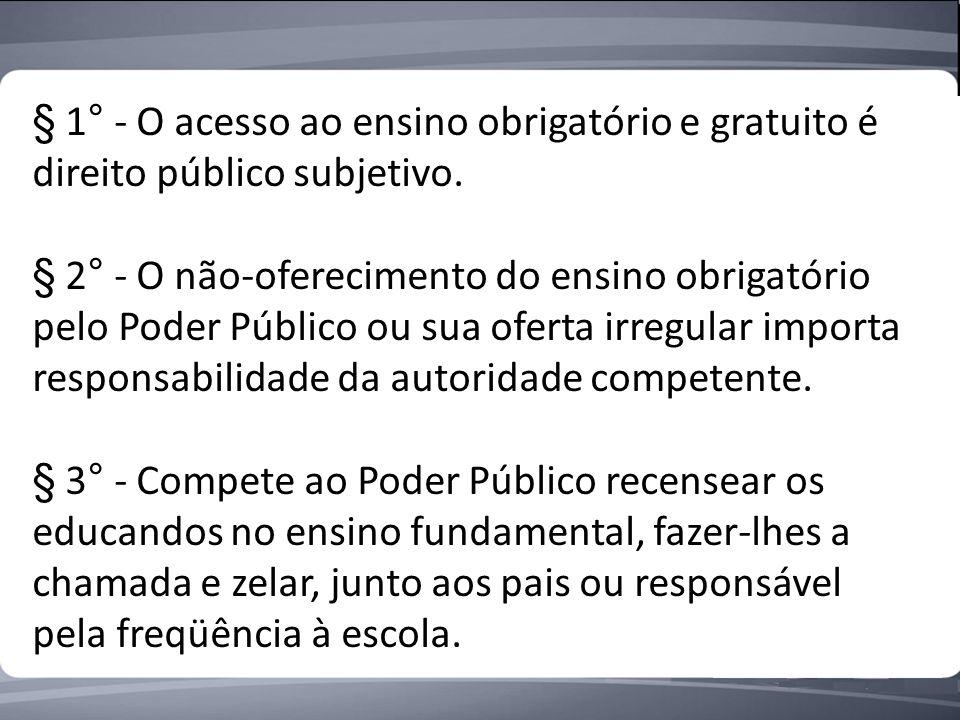 § 1° - O acesso ao ensino obrigatório e gratuito é direito público subjetivo.