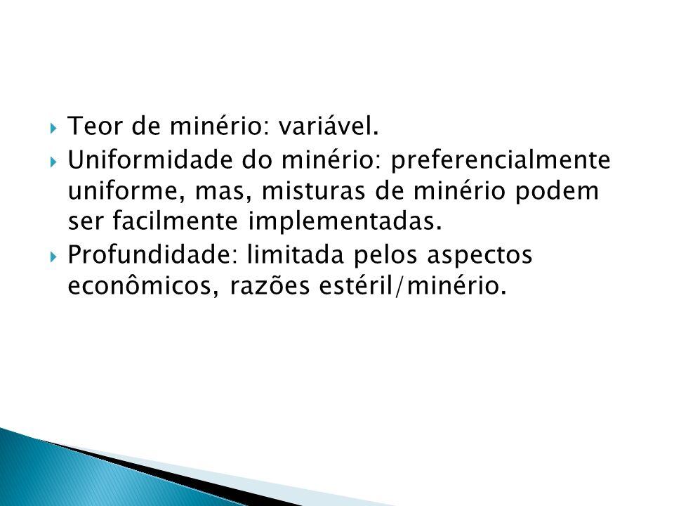 Teor de minério: variável. Uniformidade do minério: preferencialmente uniforme, mas, misturas de minério podem ser facilmente implementadas. Profundid