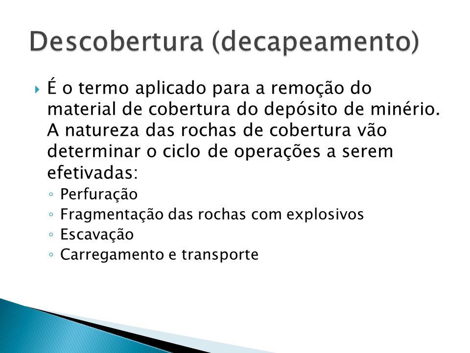 É o termo aplicado para a remoção do material de cobertura do depósito de minério. A natureza das rochas de cobertura vão determinar o ciclo de operaç