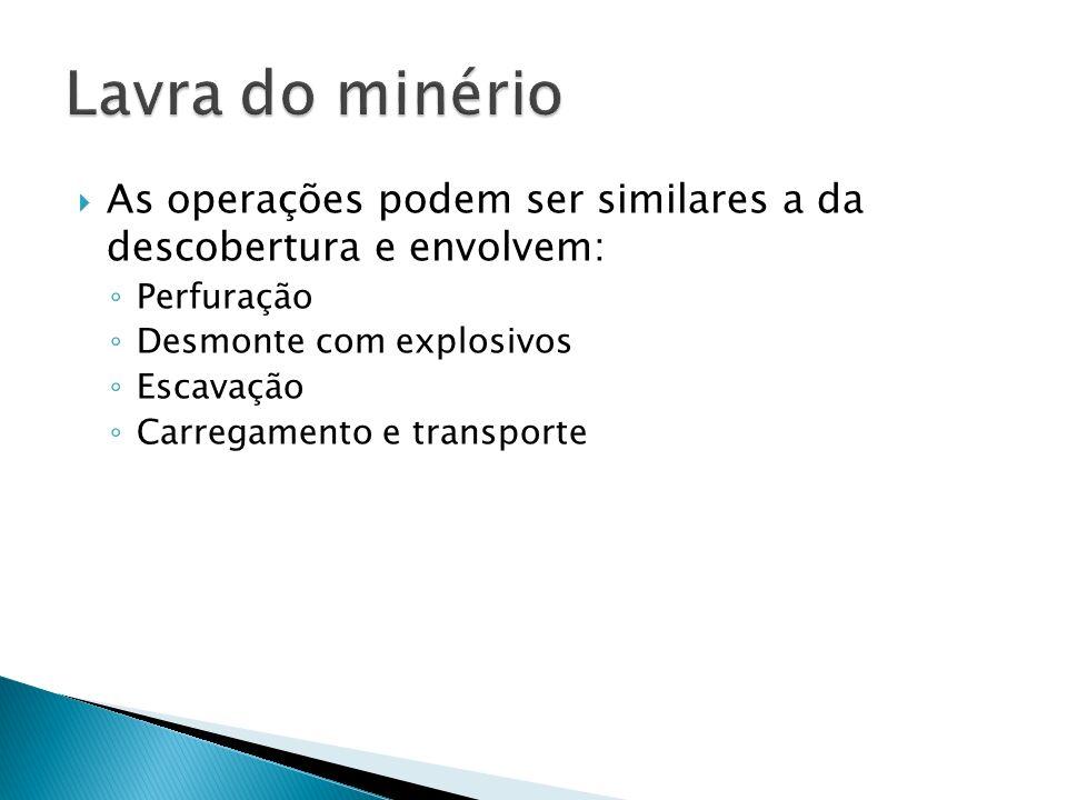 As operações podem ser similares a da descobertura e envolvem: Perfuração Desmonte com explosivos Escavação Carregamento e transporte