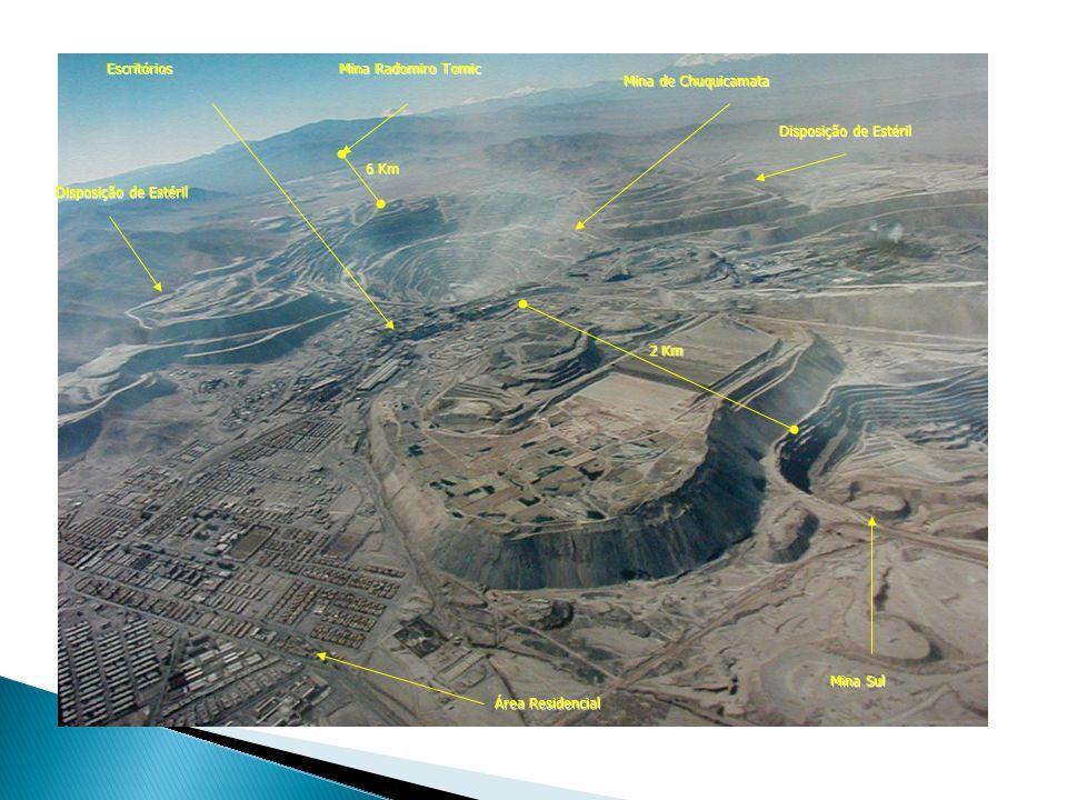 Mina Sul Mina de Chuquicamata Mina Radomiro Tomic Área Residencial Escritórios Disposição de Estéril 6 Km 2 Km