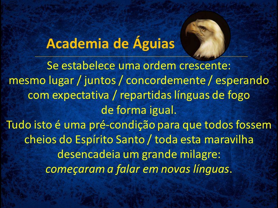 Academia de Águias Se estabelece uma ordem crescente: mesmo lugar / juntos / concordemente / esperando com expectativa / repartidas línguas de fogo de