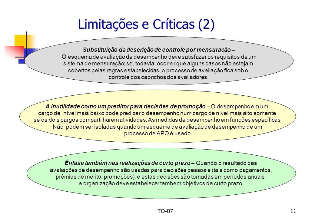 TO-0711 Limitações e Críticas (2) Substituição da descrição de controle por mensuração – O esquema de avaliação de desempenho deve satisfazer os requi