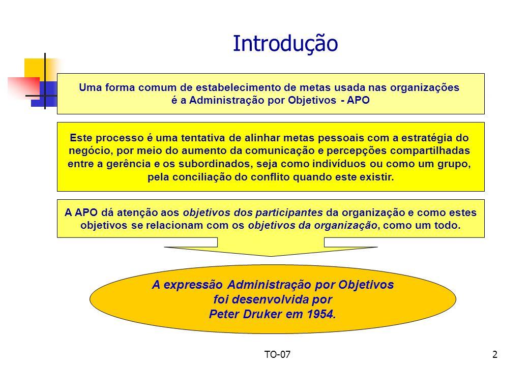 TO-072 Introdução Uma forma comum de estabelecimento de metas usada nas organizações é a Administração por Objetivos - APO Este processo é uma tentati