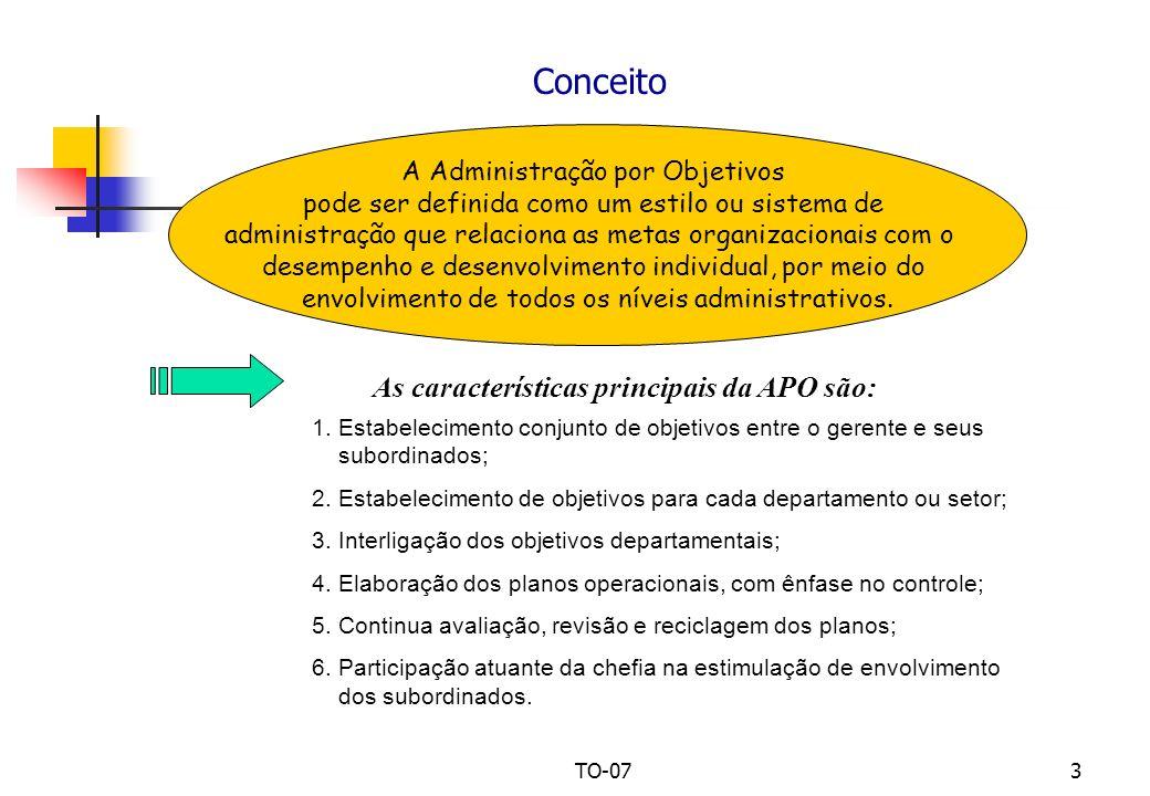TO-073 Conceito A Administração por Objetivos pode ser definida como um estilo ou sistema de administração que relaciona as metas organizacionais com