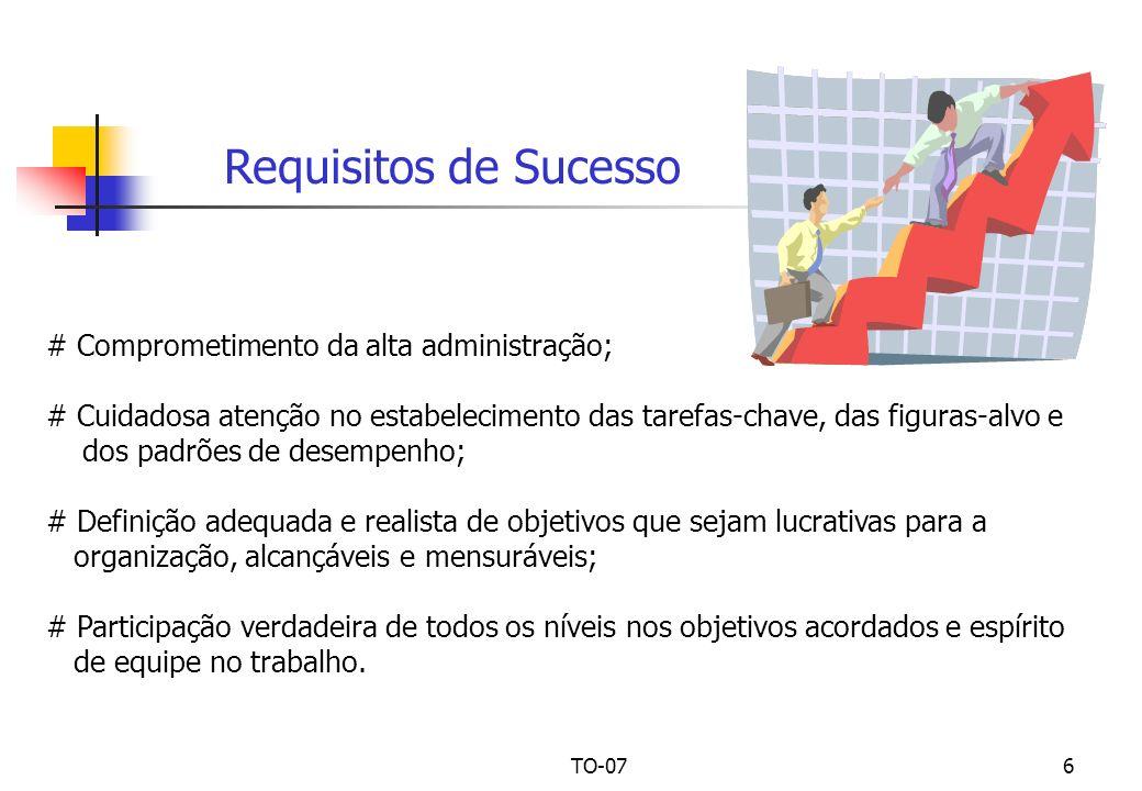 TO-076 # Comprometimento da alta administração; # Cuidadosa atenção no estabelecimento das tarefas-chave, das figuras-alvo e dos padrões de desempenho