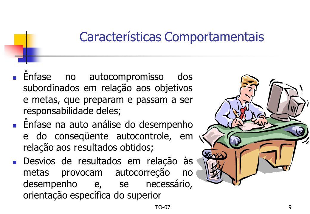 TO-079 Características Comportamentais Ênfase no autocompromisso dos subordinados em relação aos objetivos e metas, que preparam e passam a ser respon