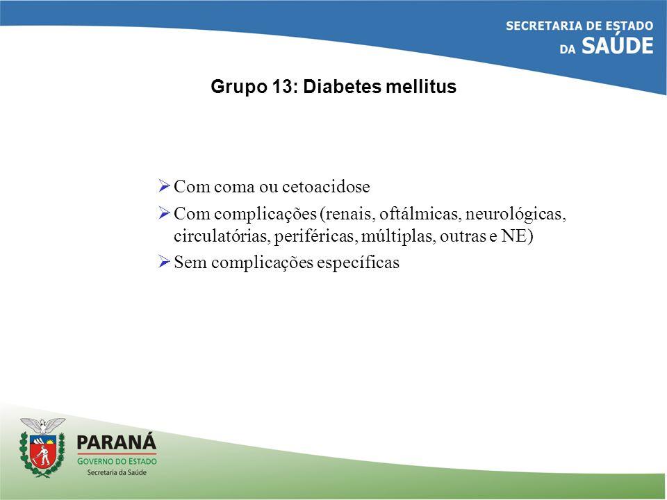 Grupo 13: Diabetes mellitus Com coma ou cetoacidose Com complicações (renais, oftálmicas, neurológicas, circulatórias, periféricas, múltiplas, outras