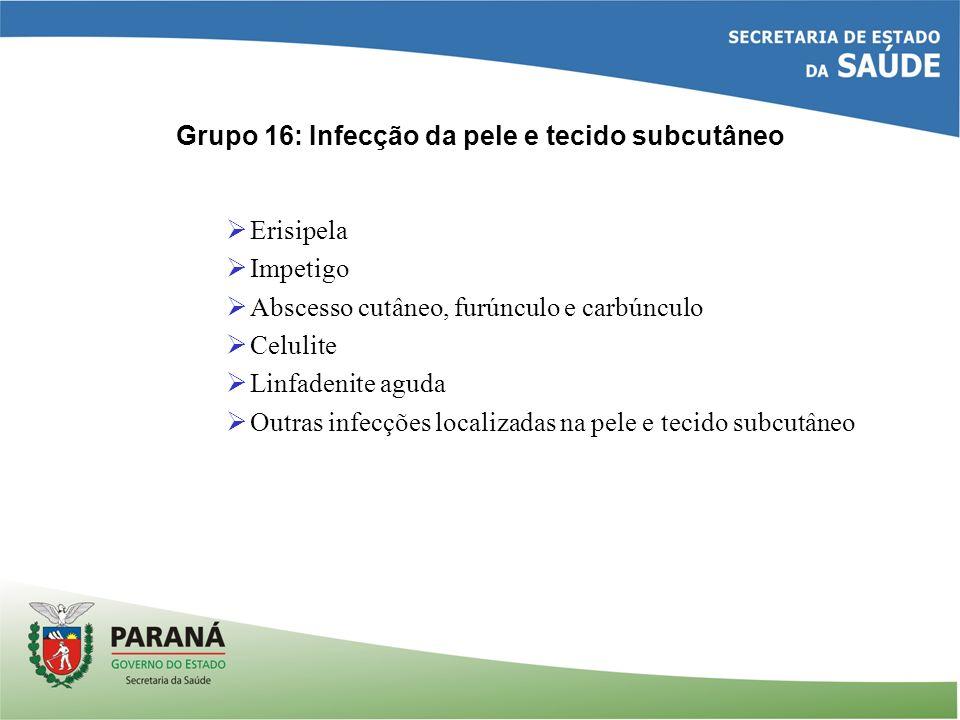 Grupo 16: Infecção da pele e tecido subcutâneo Erisipela Impetigo Abscesso cutâneo, furúnculo e carbúnculo Celulite Linfadenite aguda Outras infecções