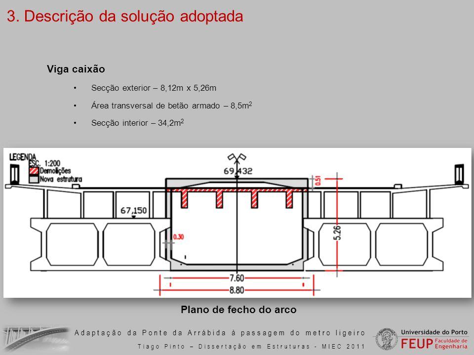 Adaptação da Ponte da Arrábida à passagem do metro ligeiro Tiago Pinto – Dissertação em Estruturas - MIEC 2011 Secção exterior – 8,12m x 5,26m Área tr