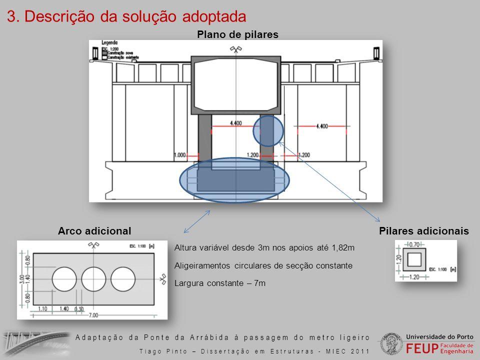 Adaptação da Ponte da Arrábida à passagem do metro ligeiro Tiago Pinto – Dissertação em Estruturas - MIEC 2011 Altura variável desde 3m nos apoios até
