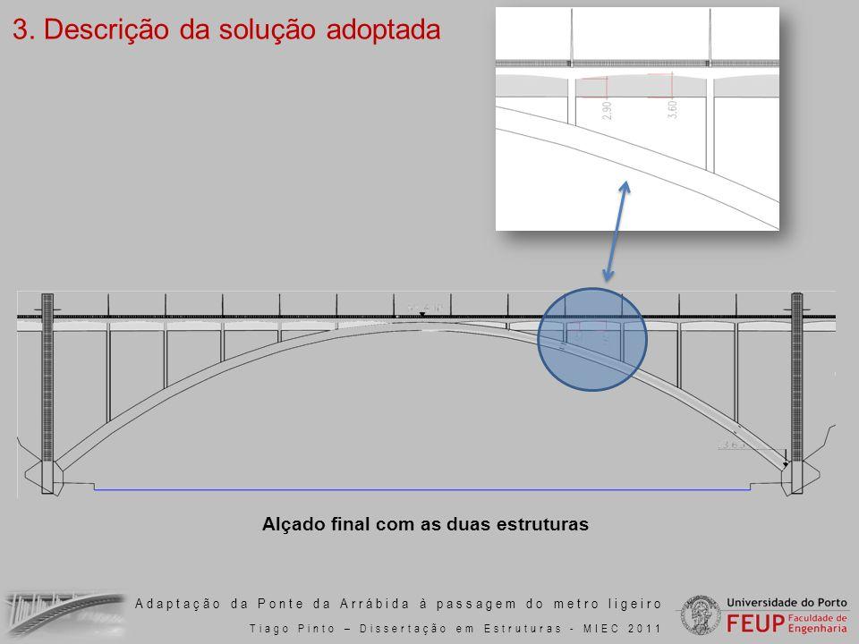Adaptação da Ponte da Arrábida à passagem do metro ligeiro Tiago Pinto – Dissertação em Estruturas - MIEC 2011 3. Descrição da solução adoptada Alçado