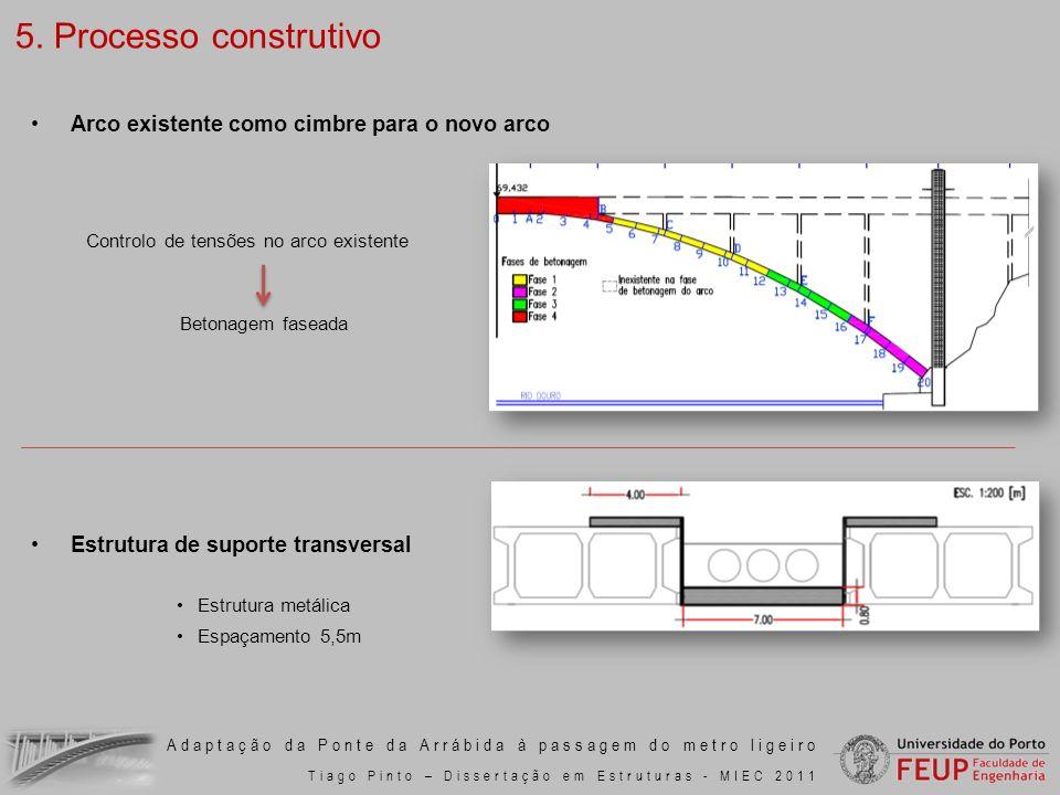 Adaptação da Ponte da Arrábida à passagem do metro ligeiro Tiago Pinto – Dissertação em Estruturas - MIEC 2011 Arco existente como cimbre para o novo