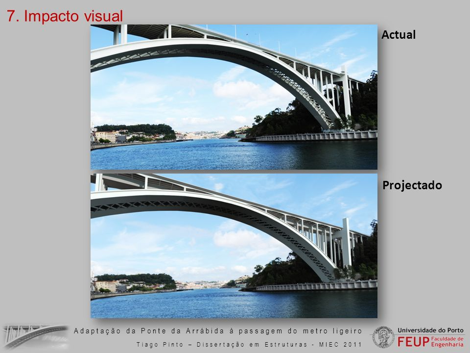 Adaptação da Ponte da Arrábida à passagem do metro ligeiro Tiago Pinto – Dissertação em Estruturas - MIEC 2011 7. Impacto visual Actual Projectado