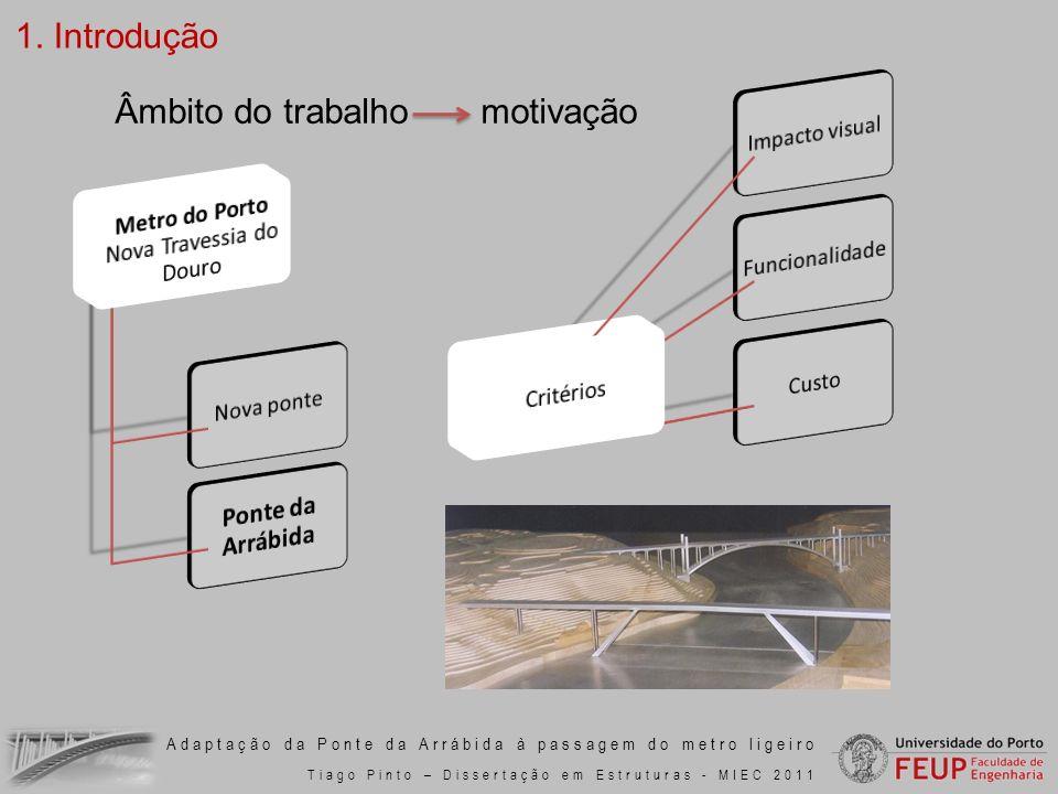 Adaptação da Ponte da Arrábida à passagem do metro ligeiro Tiago Pinto – Dissertação em Estruturas - MIEC 2011 Âmbito do trabalho motivação 1. Introdu