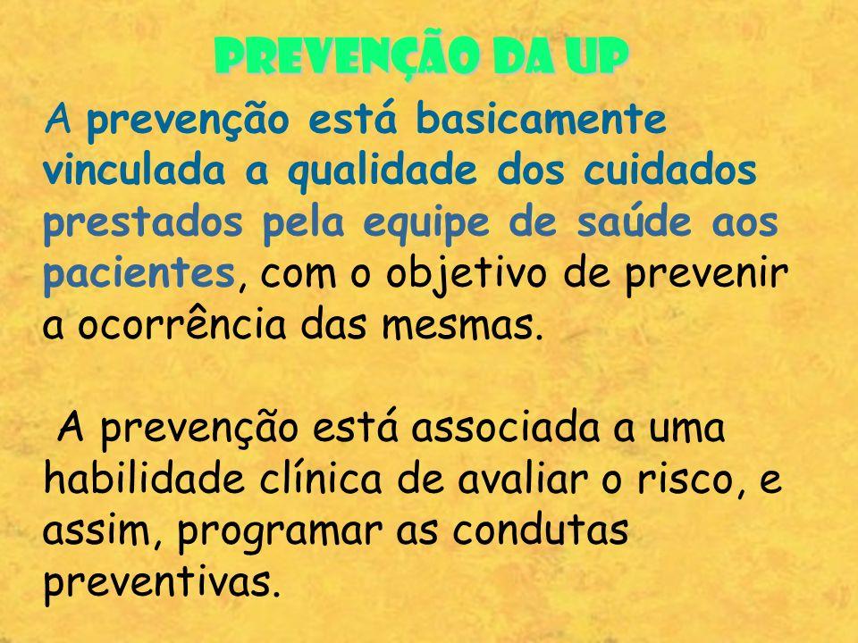 PREVENÇÃO DA UP A prevenção está basicamente vinculada a qualidade dos cuidados prestados pela equipe de saúde aos pacientes, com o objetivo de preven