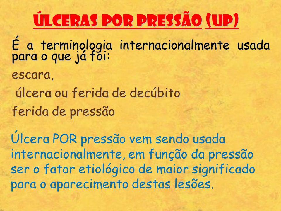 Úlceras por pressão (UP) É a terminologia internacionalmente usada para o que já foi: escara, úlcera ou ferida de decúbito úlcera ou ferida de decúbit