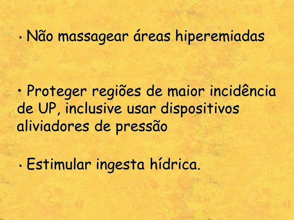 Não massagear áreas hiperemiadas Não massagear áreas hiperemiadas Proteger regiões de maior incidência de UP, inclusive usar dispositivos aliviadores