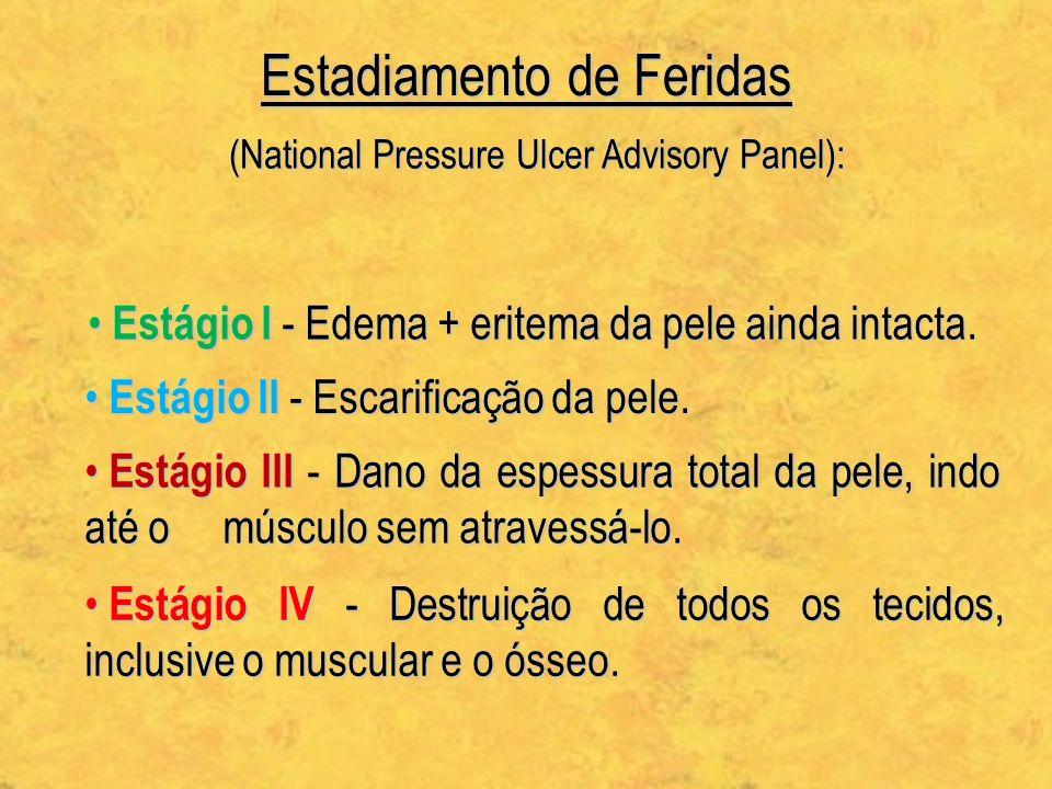 Estadiamento de Feridas (National Pressure Ulcer Advisory Panel): Estágio I - Edema + eritema da pele ainda intacta. Estágio I - Edema + eritema da pe