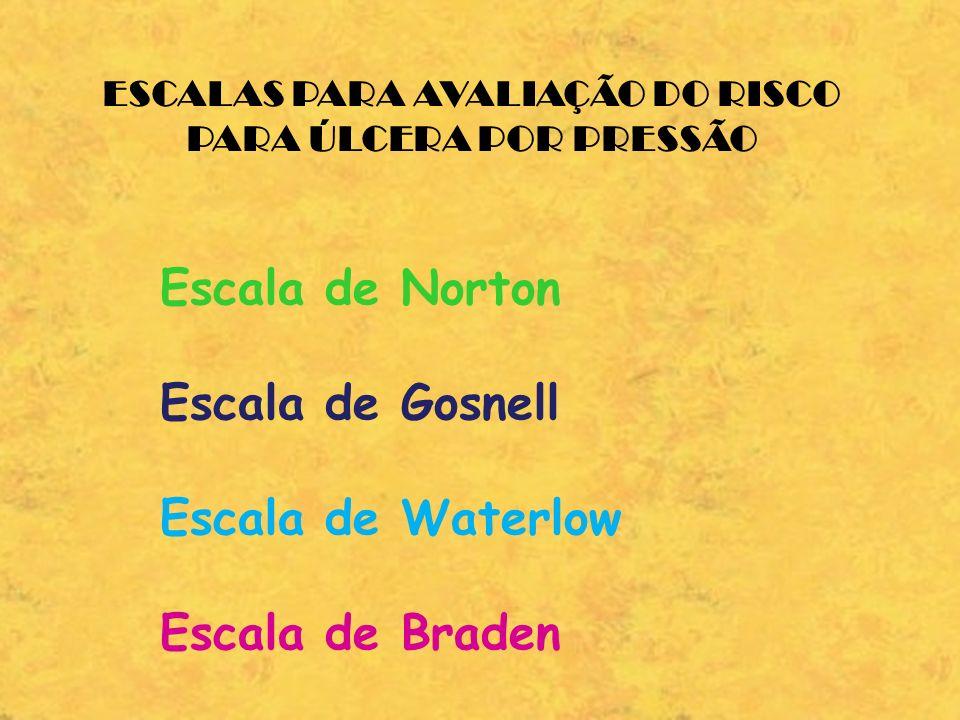 ESCALAS PARA AVALIAÇÃO DO RISCO PARA ÚLCERA POR PRESSÃO Escala de Norton Escala de Gosnell Escala de Waterlow Escala de Braden
