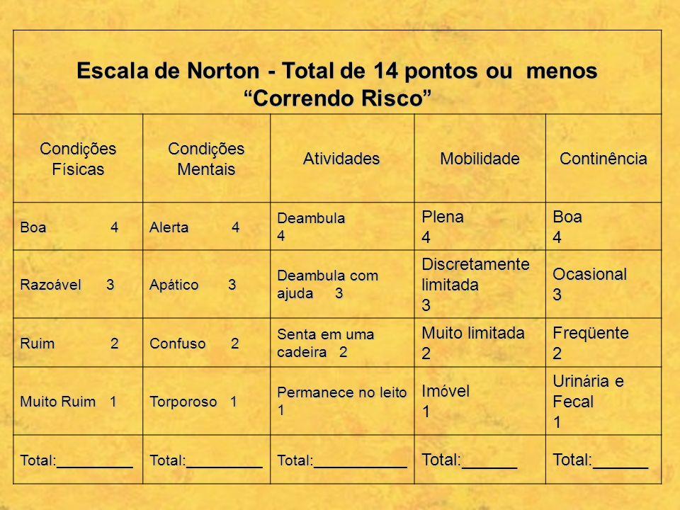 Escala de Norton - Total de 14 pontos ou menos Correndo Risco Escala de Norton - Total de 14 pontos ou menos Correndo Risco Condi ç ões F í sicas Cond