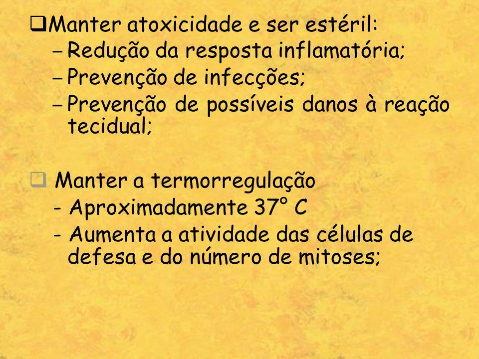 Manter atoxicidade e ser estéril: – Redução da resposta inflamatória; – Prevenção de infecções; – Prevenção de possíveis danos à reação tecidual; Mant