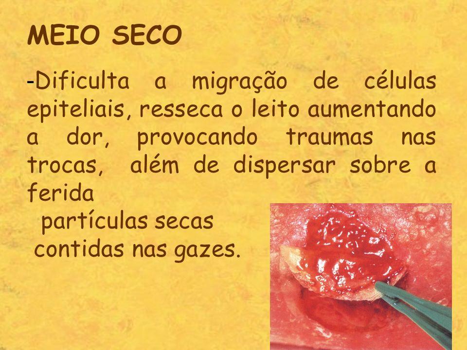 MEIO SECO - Dificulta a migração de células epiteliais, resseca o leito aumentando a dor, provocando traumas nas trocas, além de dispersar sobre a fer