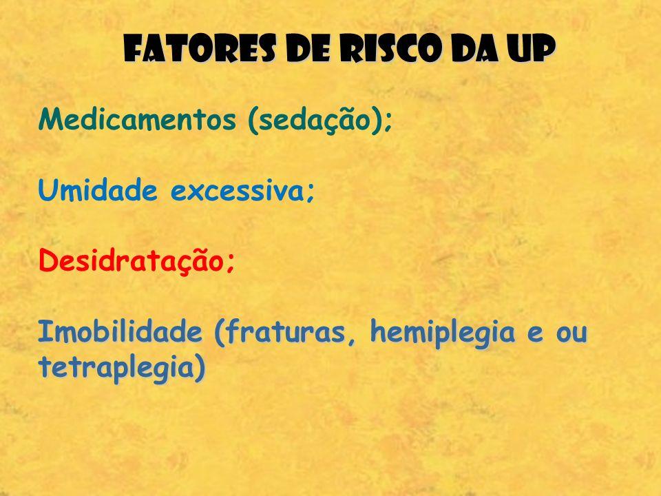 FATORES DE RISCO DA UP Medicamentos (sedação); Umidade excessiva; Desidratação; Imobilidade (fraturas, hemiplegia e ou tetraplegia)