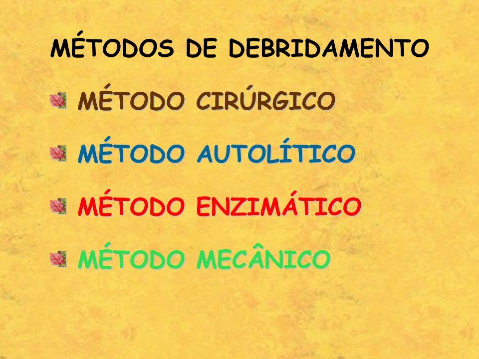 MÉTODOS DE DEBRIDAMENTO MÉTODO CIRÚRGICO MÉTODO CIRÚRGICO MÉTODO AUTOLÍTICO MÉTODO AUTOLÍTICO MÉTODO ENZIMÁTICO MÉTODO ENZIMÁTICO MÉTODO MECÂNICO MÉTO