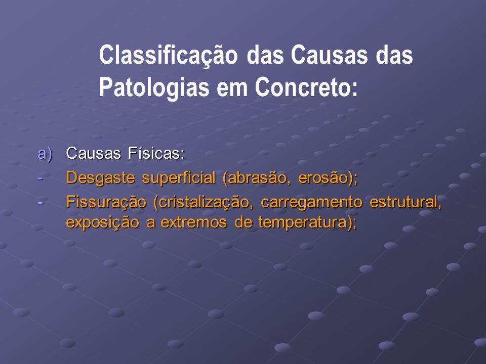 Classificação das Causas das Patologias em Concreto: a)Causas Físicas: -Desgaste superficial (abrasão, erosão); -Fissuração (cristalização, carregamento estrutural, exposição a extremos de temperatura);