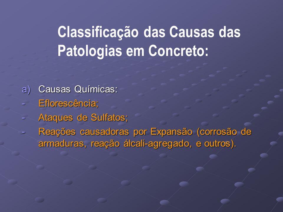Classificação das Causas das Patologias em Concreto: a)Causas Químicas: -Eflorescência; -Ataques de Sulfatos; -Reações causadoras por Expansão (corrosão de armaduras, reação álcali-agregado, e outros).