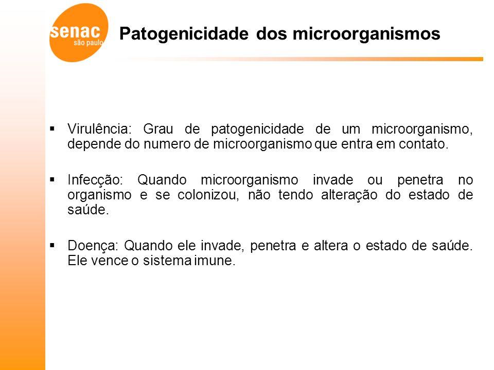 Virulência: Grau de patogenicidade de um microorganismo, depende do numero de microorganismo que entra em contato.