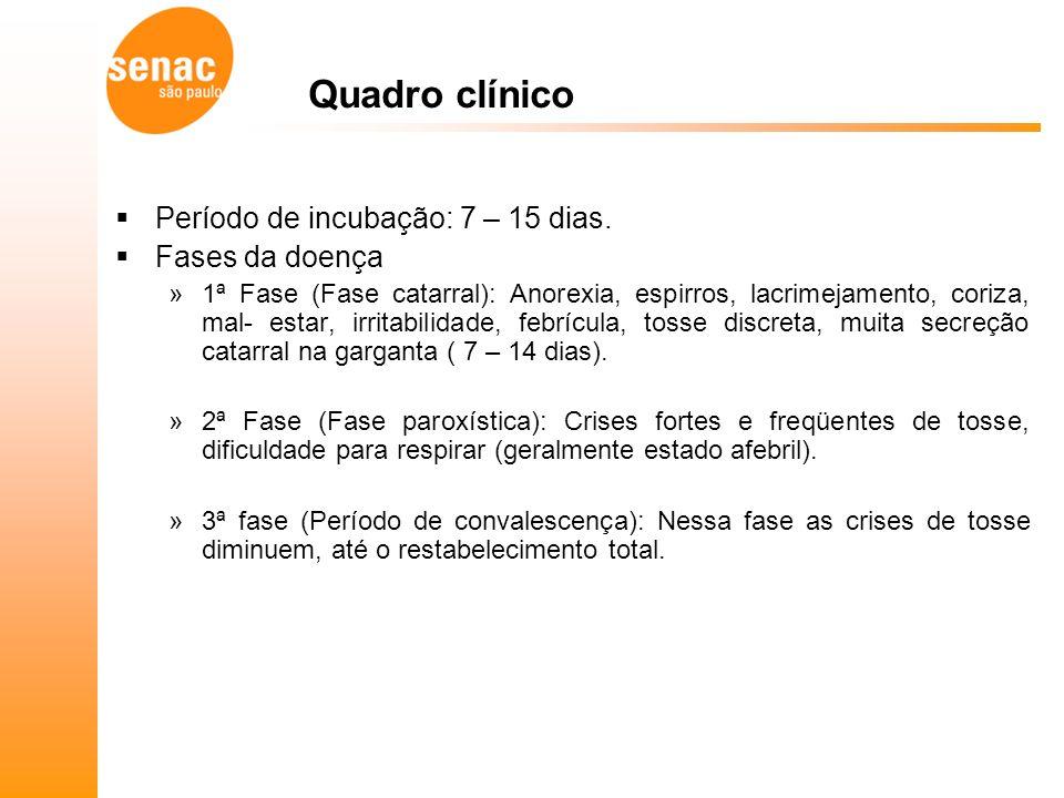 Quadro clínico Período de incubação: 7 – 15 dias.