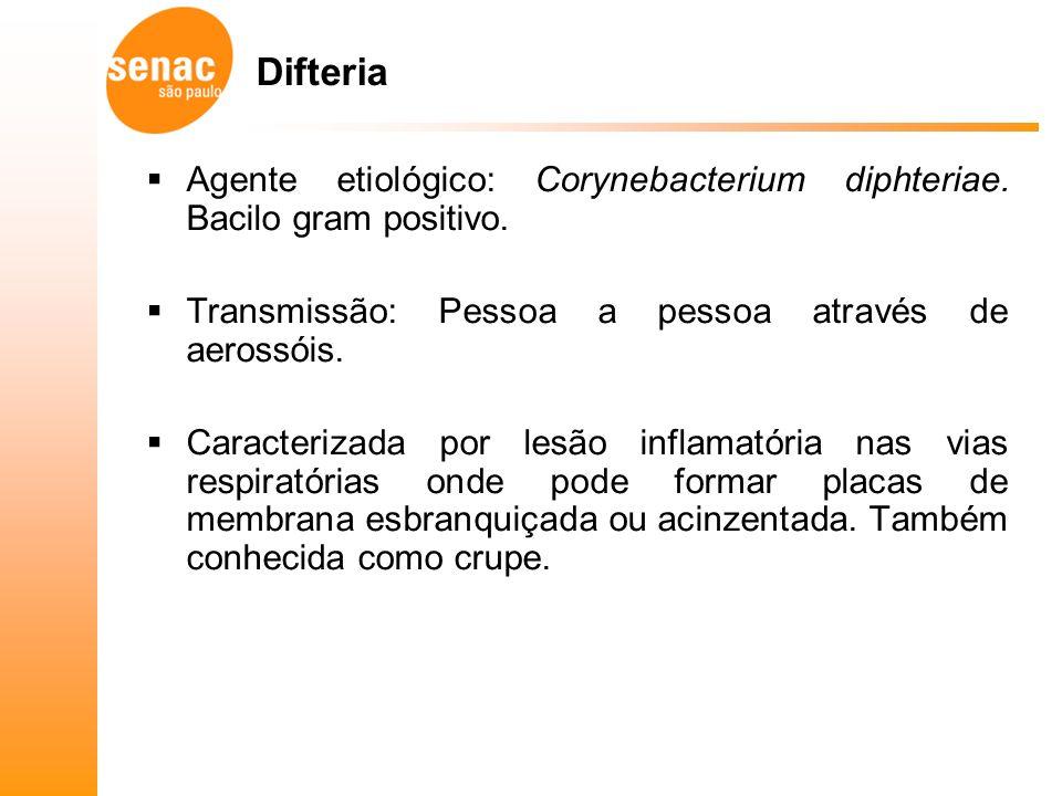 Difteria Agente etiológico: Corynebacterium diphteriae.