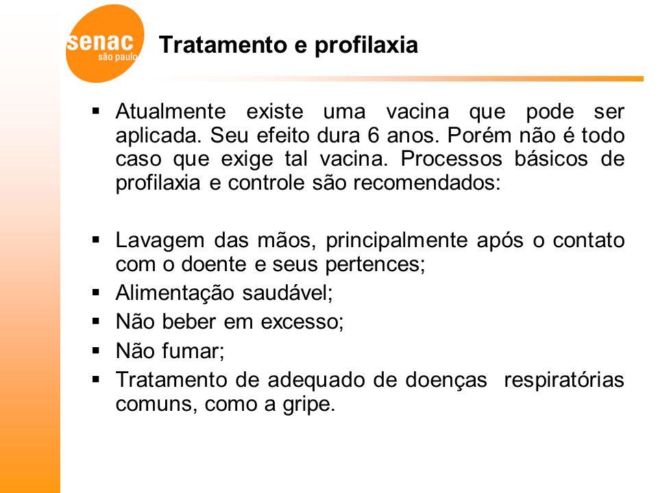 Tratamento e profilaxia Atualmente existe uma vacina que pode ser aplicada.