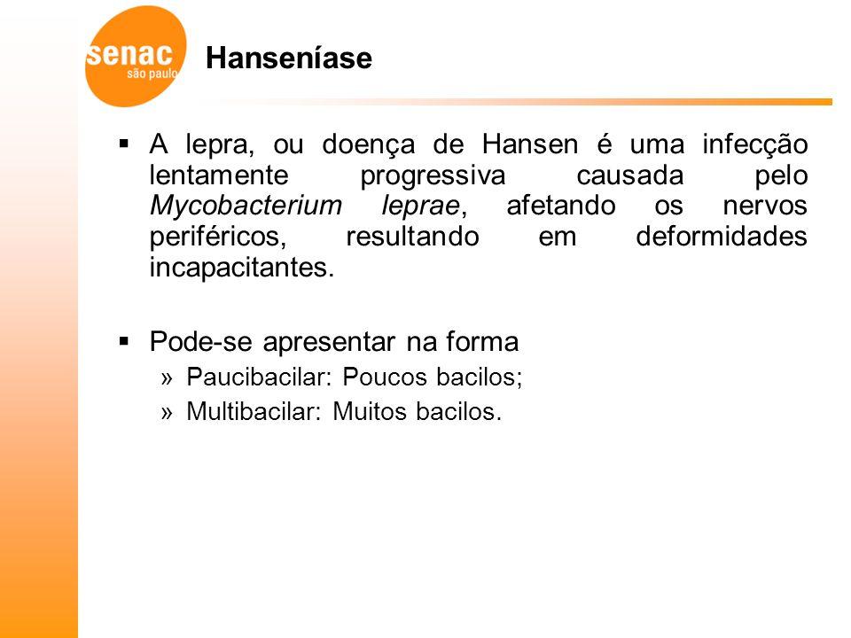 Hanseníase A lepra, ou doença de Hansen é uma infecção lentamente progressiva causada pelo Mycobacterium leprae, afetando os nervos periféricos, resultando em deformidades incapacitantes.