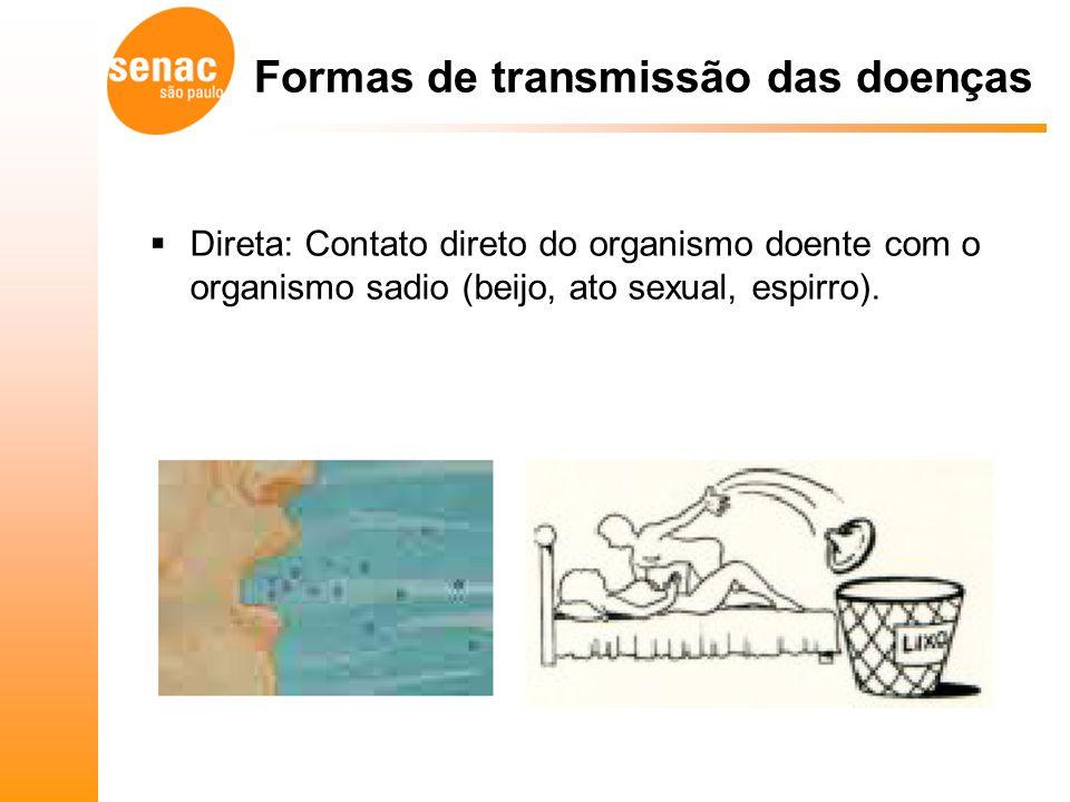 Formas de transmissão das doenças Direta: Contato direto do organismo doente com o organismo sadio (beijo, ato sexual, espirro).