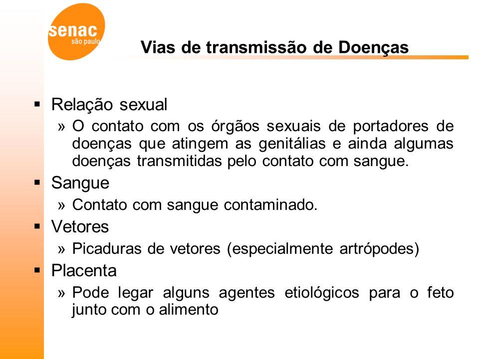 Relação sexual »O contato com os órgãos sexuais de portadores de doenças que atingem as genitálias e ainda algumas doenças transmitidas pelo contato com sangue.